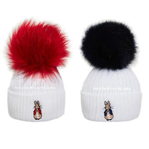 BABY BOYS BABY GIRLS KNITTED PETER RABBIT POMPOM HAT IN WHITE/RED  WHITE/BLUE