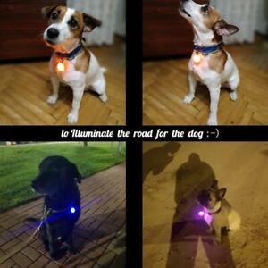 Pet Dog Collar Pendant Safety Round Flashing Glow Light Tags LED Blinking I7F5
