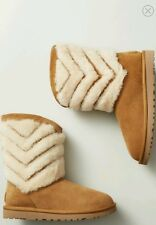 Uggs Tania Shearling Striped Boots Chestnut *New* Sz 6
