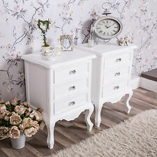 Pair of White Bedside Tables Shabby Vintage Chic Ornate Bedroom Furniture Home