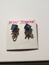 $28 BETSEY JOHNSON Anchors Away Anchor Stone & Rope Bow Duo Stud Earrings #bL 10
