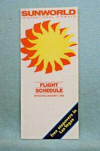 Sunworld International Airways Timetable - Jan 7, 1985