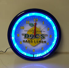 Neon Plasma Clock Doc's Hard Lemon Man Cave Bar Liquor Blue