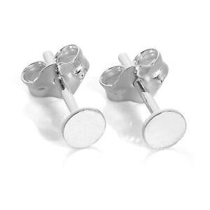 925 Sterling Silver Plain Flat 3mm Round Disc Stud Earrings Simple Studs