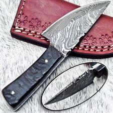 """NEW CUSTOM HANDMADE DAMASCUS 5.50"""" MINI HUNTING KNIFE RAM HORN HANDLE - UT-3604"""