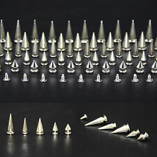 100pc Silver Colour Spikes Cone Screwback Bullet Punk Rivet Leather Bags Craft