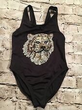 Girls Million $$$ Baby Black, Gold Dance Costume With A Sequence Tiger. Size: 7.