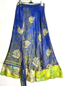"36"" Long Vintage Silk Wrap Skirt Sari Recycled Double Layer Skirt Bohemian Skirt"