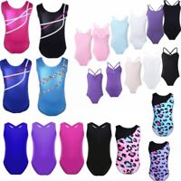 Gymnastics Leotards Toddler Girls Metallic Ballet Skate Bodysuit Dancewear 2-14Y