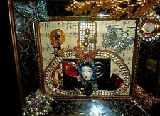 Handcrafted Bejeweled Wall Art, Vintage Jewelry, Art Deco Mirrored Frame, OOAK