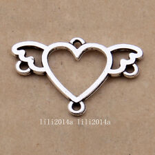 20pc Tibetan Silver Heart Wings Connectors Charms Pendant Jewellery   PL1100