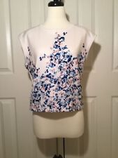 KIIND OF Women's White Blue Pink Floral Sleeveless Top  NEW NWT Size Medium