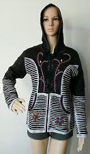 FJ6 COTTON FLEECE JACKET NEPAL : Handmade Ribs Floral Hippie Bohemian Coat M