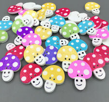 50X  Wooden buttons sewing scrapbook Mixed color Mushroom shape Smile 2hole 22mm