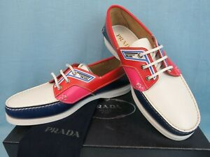 PRADA 2EG270 COBALTO RED LEATHER LOGO LACE UP MOCCASINS BOAT LOAFERS 8.5 US 9.5
