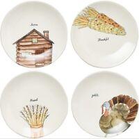 "NIB RAE DUNN 8"" Turkey Thanksgiving Fall Salad/Appetizer Plates, Set of 4."