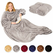 Blanket with sleeves and pocket snuggle throw sofa bed warm large TV