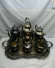 Antique Silver On Copper Tea Set 10 Pc w/Tilting Tea Pot & Lg Tray