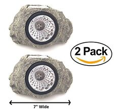 2PACK Solar Powered Rock Landscaping Spot 3-LED Light Garden Outdoor Stone Patio