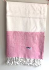 Brand New Fashion Pashmina Scarf Shawl With Paisley Border White Pink Multicolor