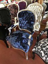 Barockstuhl F3 silber/blau