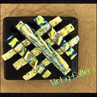 DICHROIC GLASS BELT BUCKLE Black / Gold Men's or Ladies HANDMADE by J Michaels