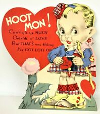 Vtg Antique Valentines Card 20s 30s Mechanical Pie Eyes Scottish Irish Kilt Cute