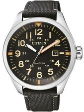 Citizen Eco-Drive Stainless Steel/ Nylon Strap Mens Watch AW5000-24E