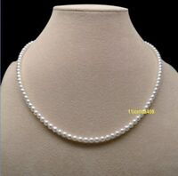 "16"" Charming AAA 3-4mm real natura Akoya white pearl necklace  14k Gold"