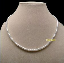 Charming AAA 3-4mm real natura Akoya white pearl necklace 18inch 14k Gold