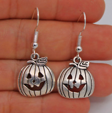 925 Silver Plated Hook Halloween Pumpkin Sexy Pageant Earring 1pair
