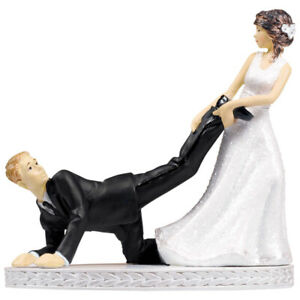 Wedding Cake Topper Bride and Groom Figurines Funny Leg Puller Decorations
