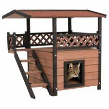 Wooden Outdoor Cat House Kitten Den Pet Maisonette Shelter Hideaway Cabin Hut