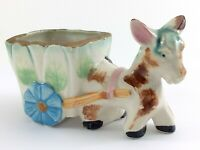 Hand Painted Japan Donkey Glazed Ceramic Pull Cart Planter 5in x 3in 152g I730