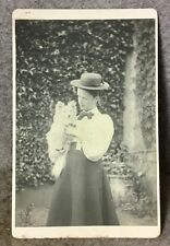Rare Antique Cabinet Photograph Lady with a Pomeranian Dog A K Gillett xmas 1896