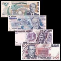 Mexico SET 4 PCS, 10 20 50 100 Pesos, 1992, P 95-98, In folder, Match number,UNC