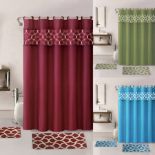 15PC GEOMETRIC PRINT BATHROOM SET BATH MATS SHOWER CURTAIN & COVERED RINGS NEW