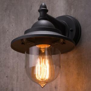 CGC Outdoor Garden Wall Light Matt Black Curved Down Decorative Lantern E27 Bulb