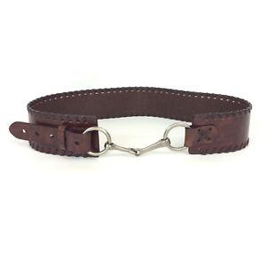 Ladies Wide Belt Size 38 Brown Vegan Faux Leather Silver Link Buckle Boho Hippie