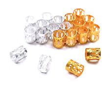 Adjustable Hair Cuffs Beads Clips Gold Silver 8x9mm|Filigree Tubes|Dreadlocks UK