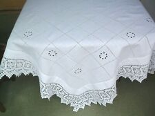 VINTAGE COTTON CROCHET EDGE EMBROIDERED TABLE CLOTH