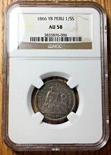 1866 Peru 1/5 sol graded NGC AU58 pcgs silver AU liberty soles lima cuzco