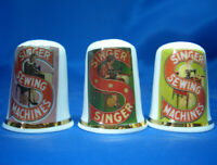 Birchcroft China Thimbles -- Set of Three -- Singer Sewing Logo