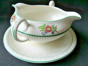OLD Owen China Plymouth Gravy Boat White Flowers Double Handle Spout Green Trim