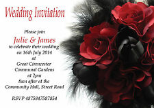 Red Rose Black Feathers Wedding Evening Day Reception Invitations x 12+env H0895