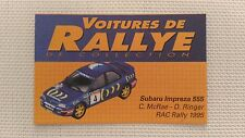 Certificat Voiture De Rallye De Collection « Subaru Impreza »TBE.