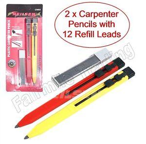 2 X Mechanical Carpenter Pencils Auto Refillable Pocket 12 Leads Timber Ceramic