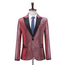 Formal Mens One Button Single Breasted Suit Jacket Peak Lapel Blazer Dance Show