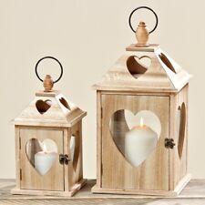 Laterne Jules Holz 2er Set 40 und 24 cm Kerzenhalter Gartenlaterne Windlicht