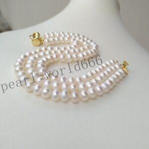 "Exceptional 7.5-8"" Triple Strands AAAA Akoya White Pearl Bracelet 14k Gold P"